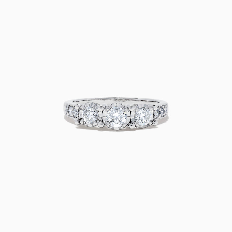 Effy Bridal 14K White Gold Diamond Three Stone Ring, 0.73 TCW