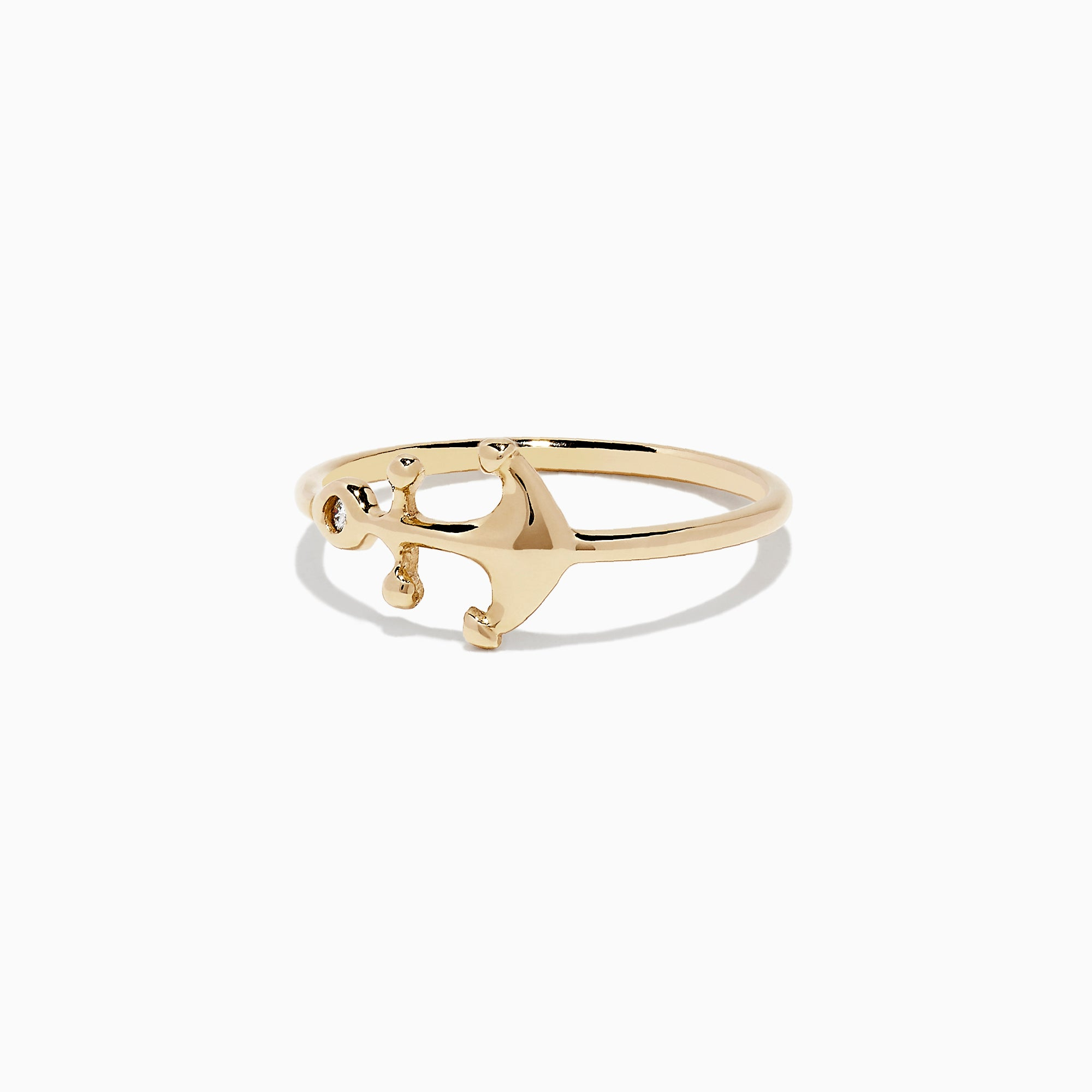 Effy Kidz 14K Yellow Gold Diamond Anchor Ring, 0.01 TCW