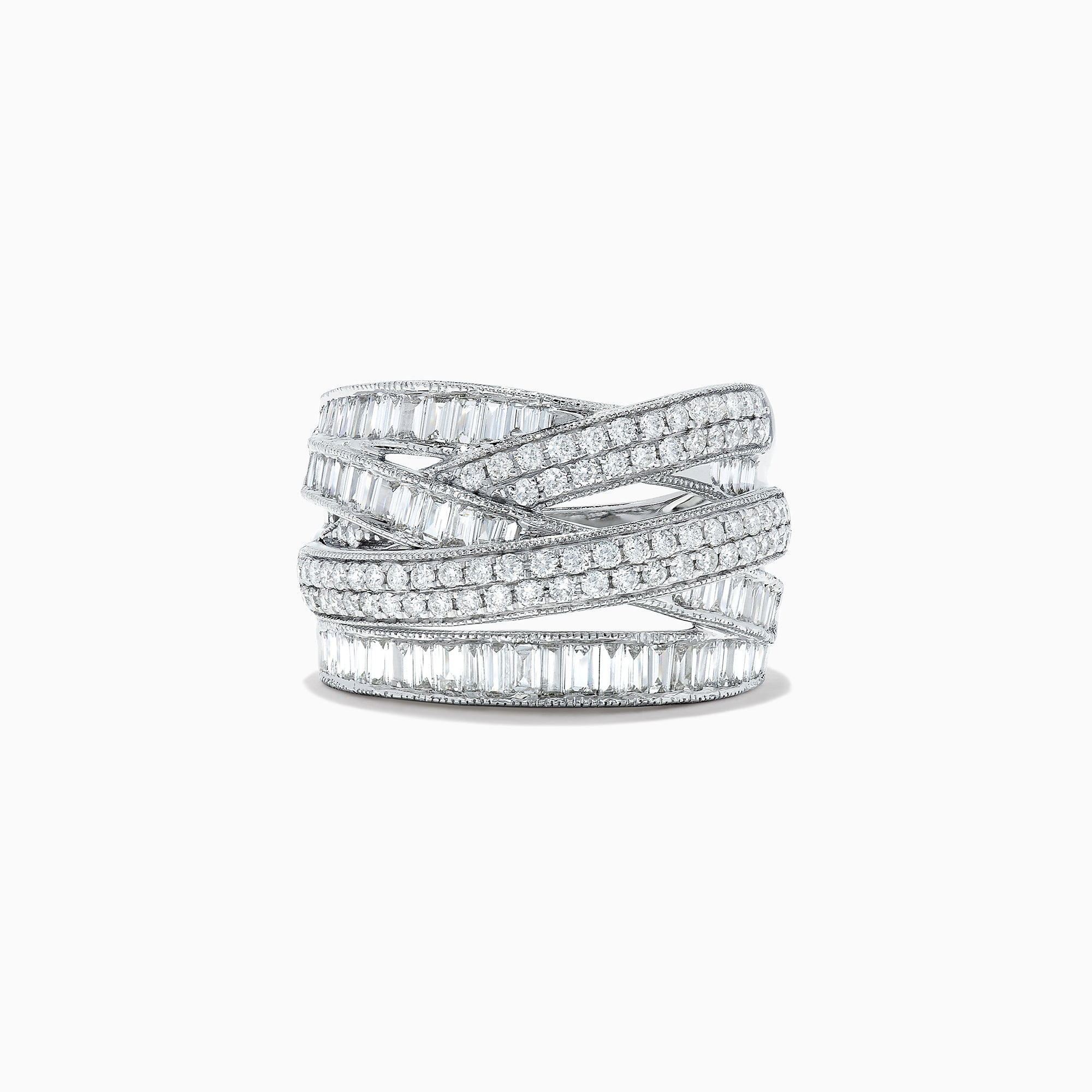 Effy Classique 14K White Gold Diamond Crossover Ring, 1.47 TCW