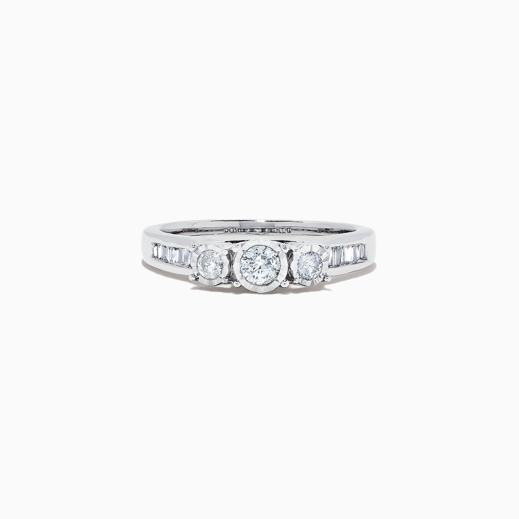 Effy Bridal 14K White Gold Diamond Three Stone Ring, 0.39 TCW