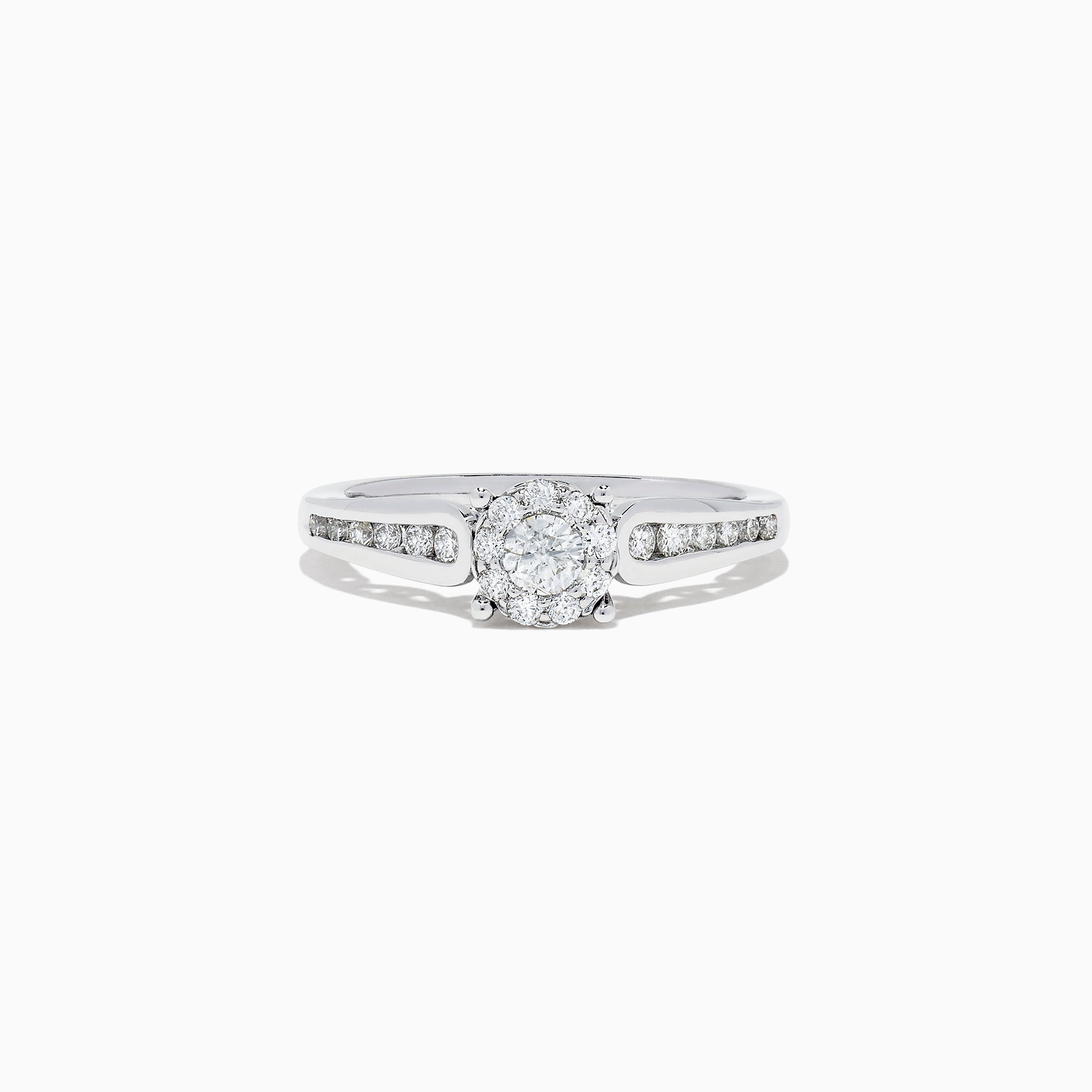 Effy Bridal 14K White Gold Diamond Cluster Ring and Band Set, 0.72 TCW
