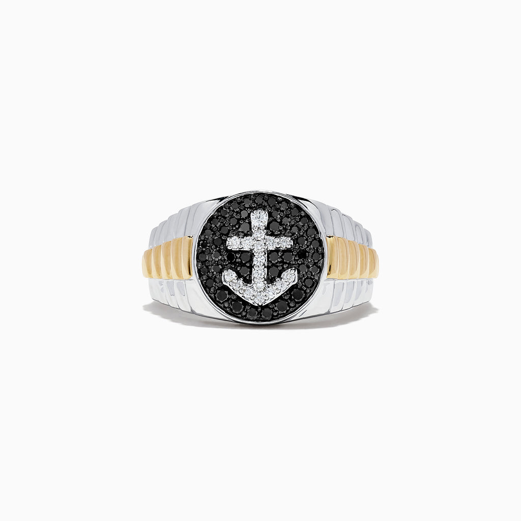 Effy Men's 14K Two Tone Gold Black and White Diamond Anchor Ring, 0.61 TCW