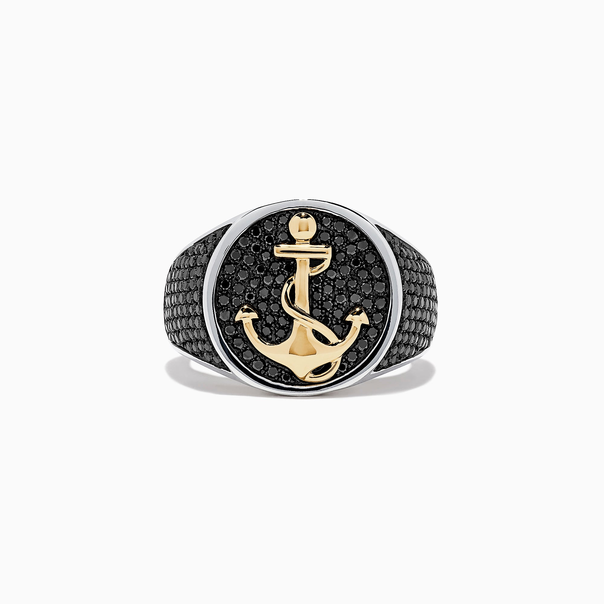 Effy Men's 14K Two Tone Gold Black Diamond Anchor Ring, 1.38 TCW