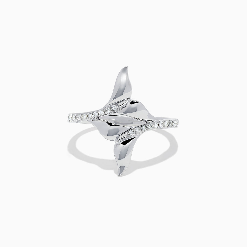 Effy Seaside 14K White Gold Diamond Whale's Tail Ring, 0.16 TCW