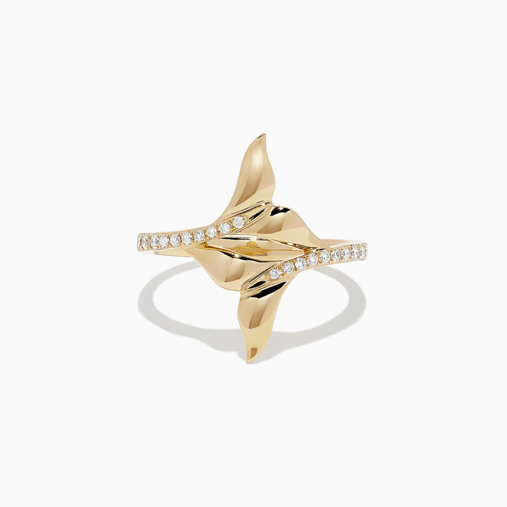 Effy Seaside 14K Yellow Gold Diamond Whale's Tail Ring, 0.16 TCW