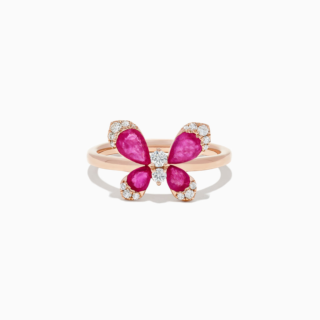 Effy Nature 14K Rose Gold Ruby and Diamond Butterfly Ring, 1.24 TCW