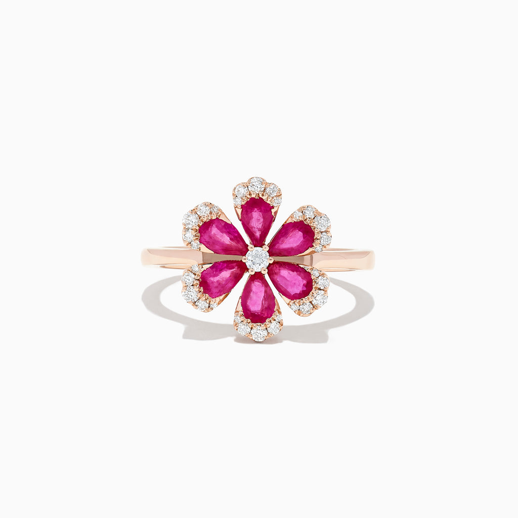 Effy Nature 14K Rose Gold Ruby and Diamond Flower Ring, 1.76 TCW