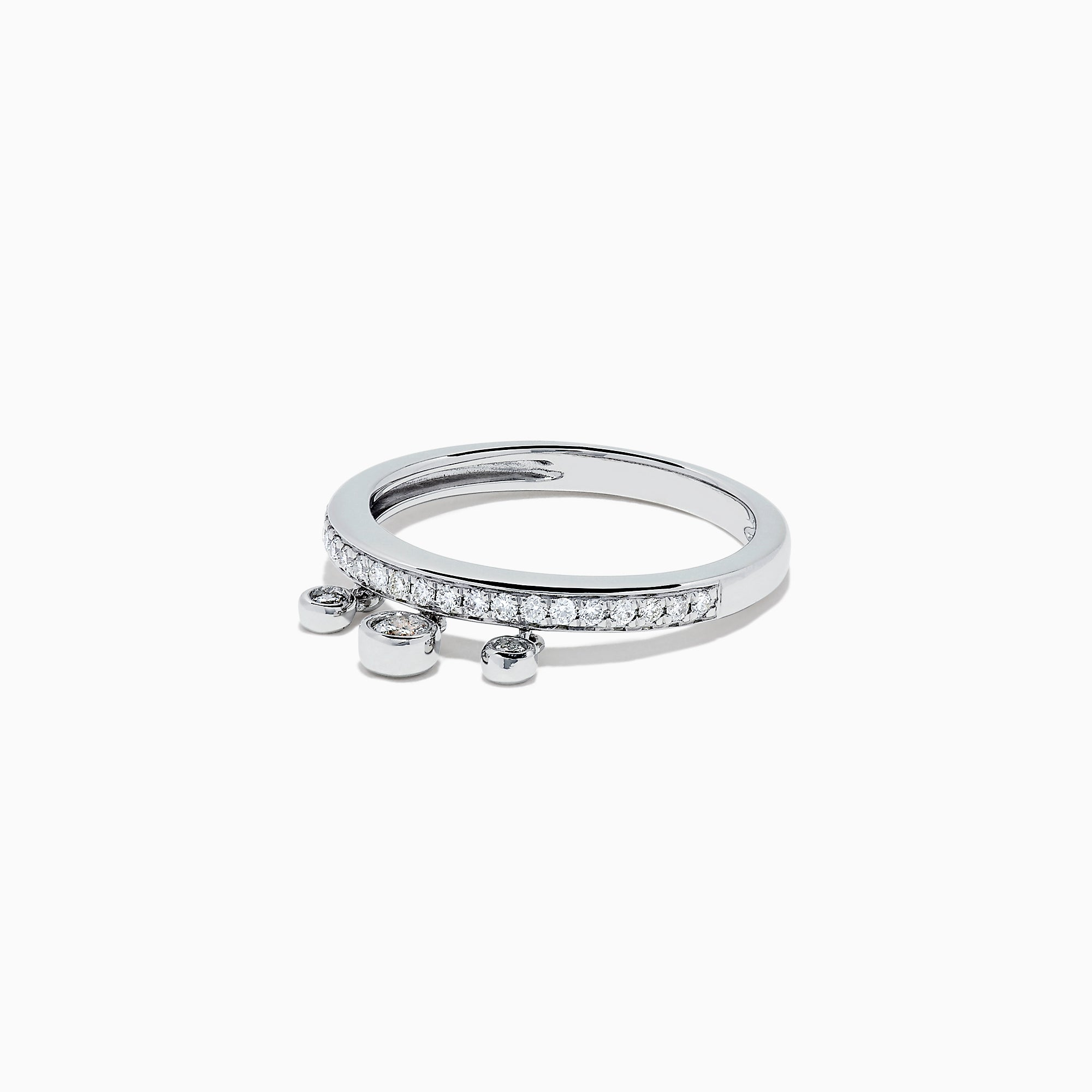 Effy Pave Classica 14K White Gold Diamond Charms Ring, 0.26 TCW