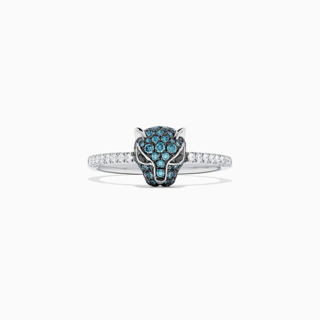 Effy Signature 14K White Gold Blue & White Diamond Panther Ring, 0.46 TCW