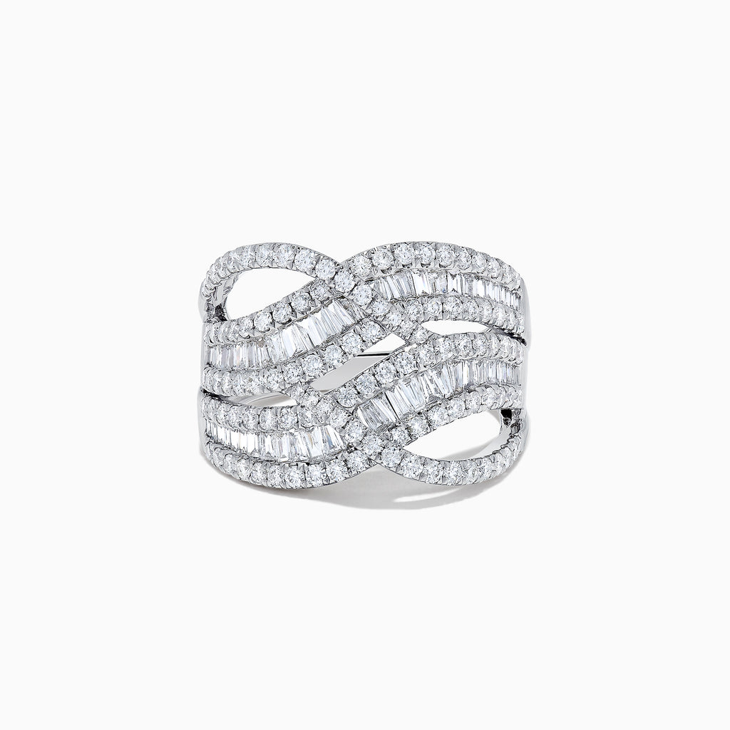 Effy Classique 14K White Gold Diamond Waves Ring, 1.66 TCW