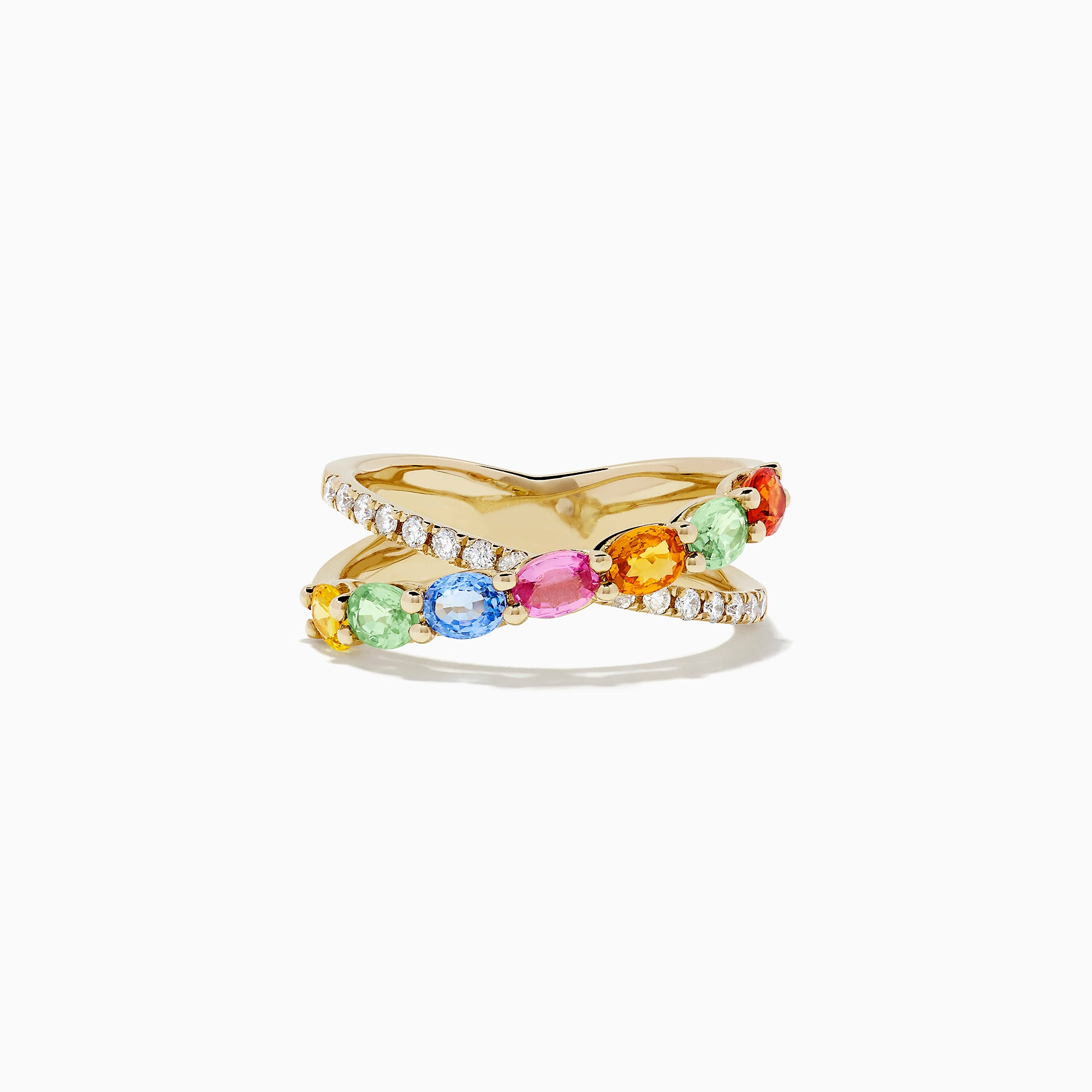 Effy Watercolors 14K Yellow Gold Multi Sapphire and Diamond Ring, 1.86 TCW