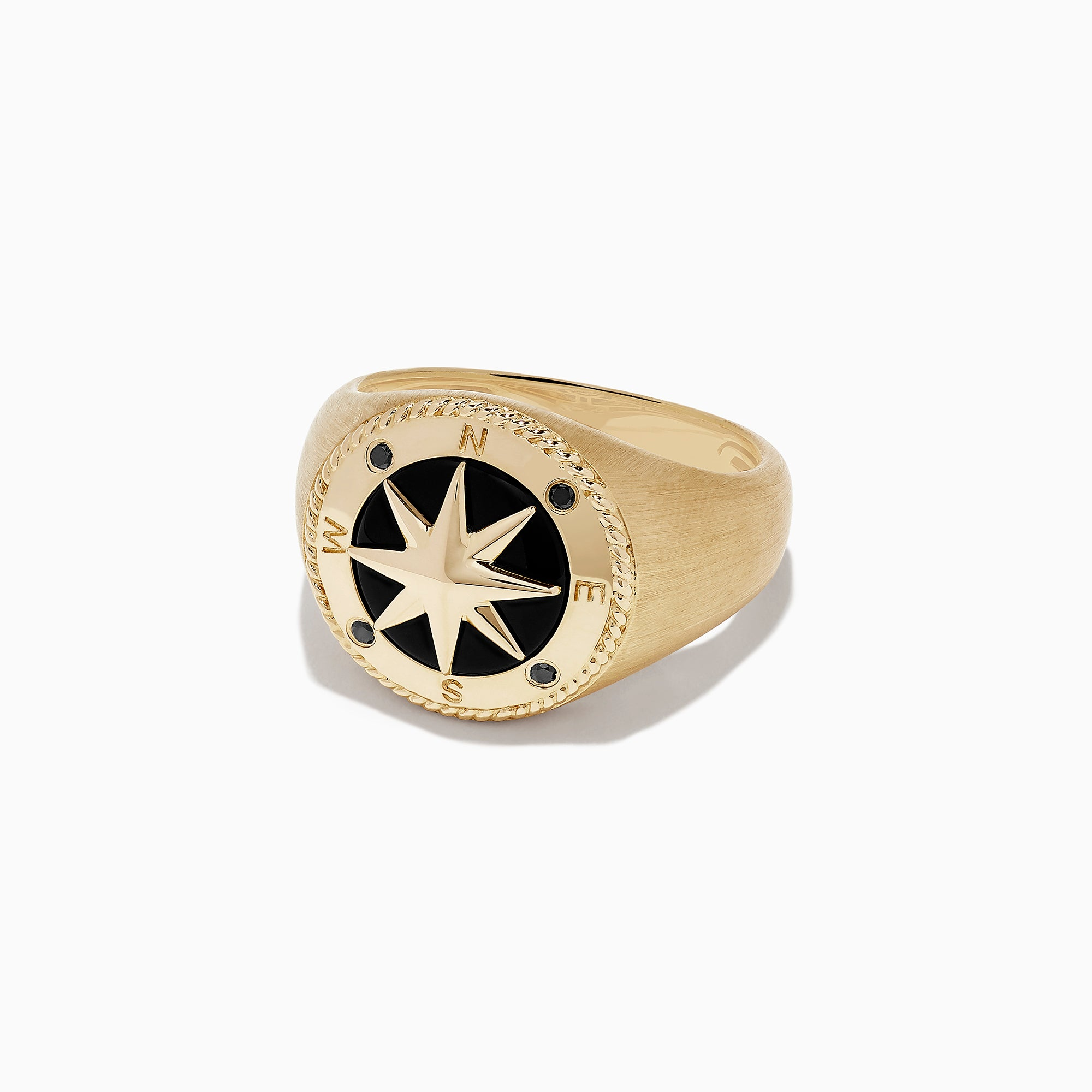 Effy Men's 14K Yellow Gold Onyx and Black Diamond Compass Ring, 3.02 TCW