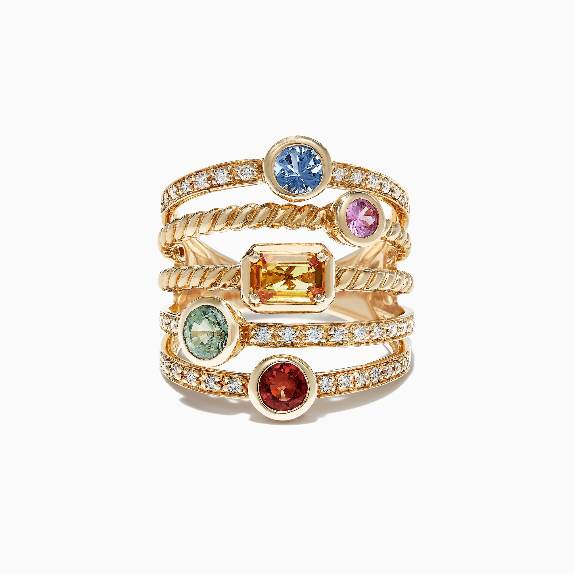 Effy Watercolors 14K Yellow Gold Multi Sapphire and Diamond Ring, 2.16 TCW