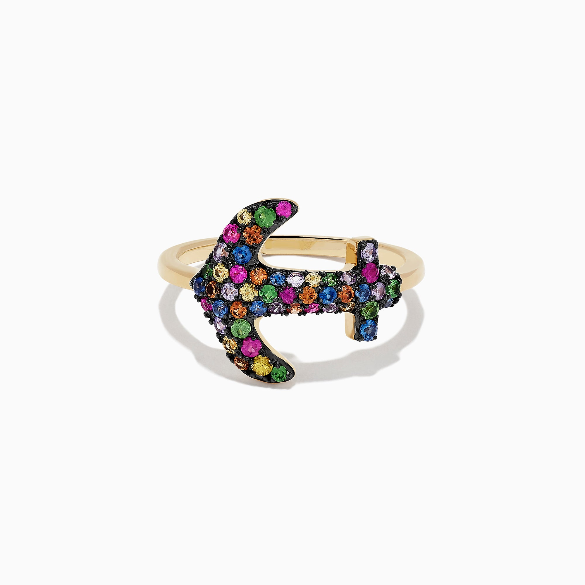 Effy Watercolors 14K Yellow Gold Multi Sapphire Anchor Ring, 0.73 TCW