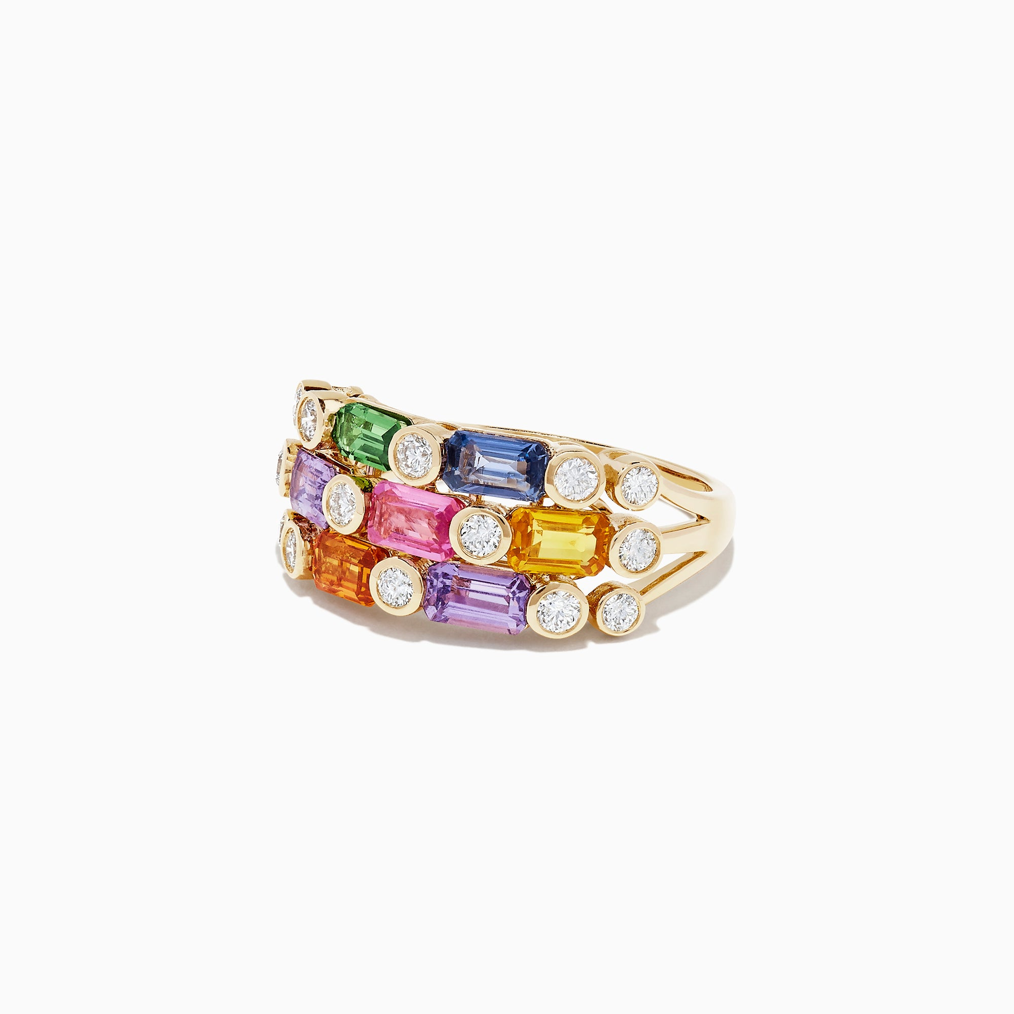 Effy Watercolors 14K Yellow Gold Multi Sapphire & Diamond Ring, 2.98 TCW