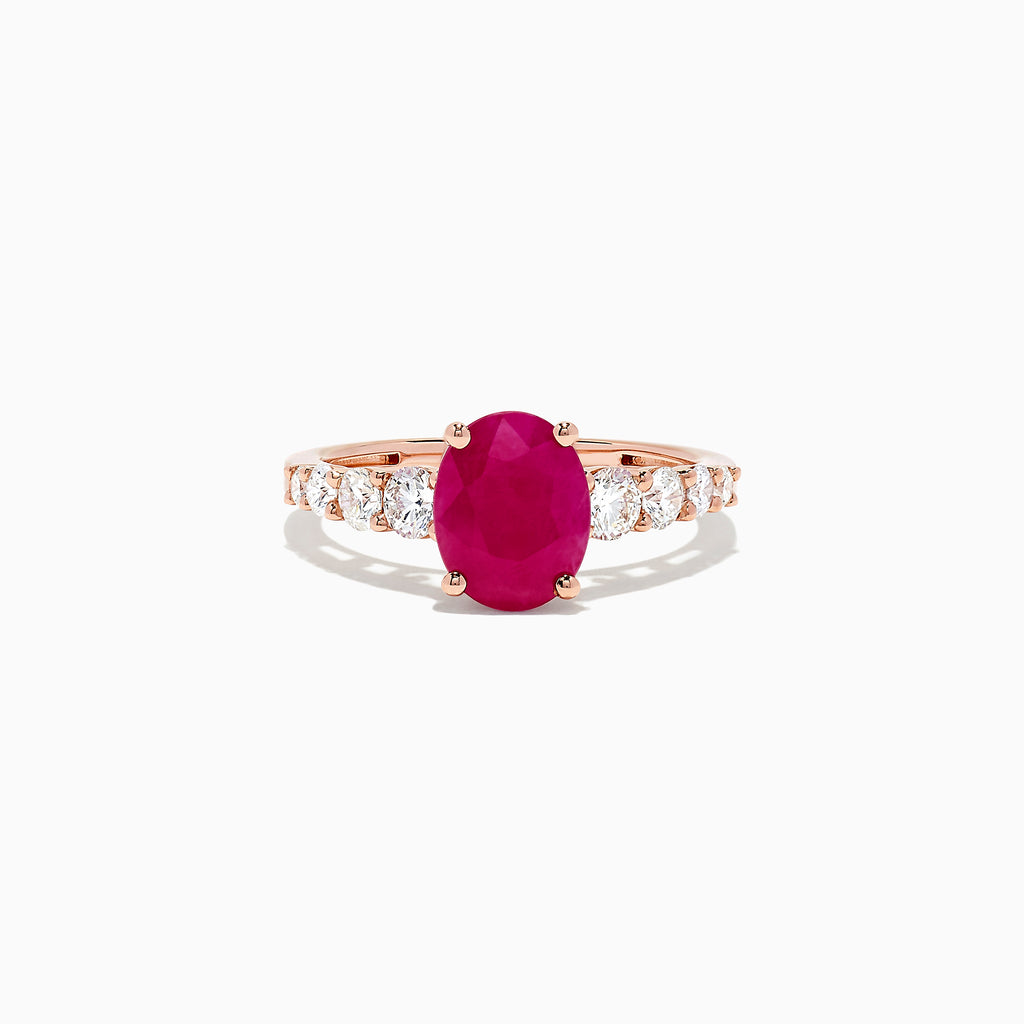 Effy Ruby Royale 14K Rose Gold Ruby and Diamond Ring, 2.57 TCW