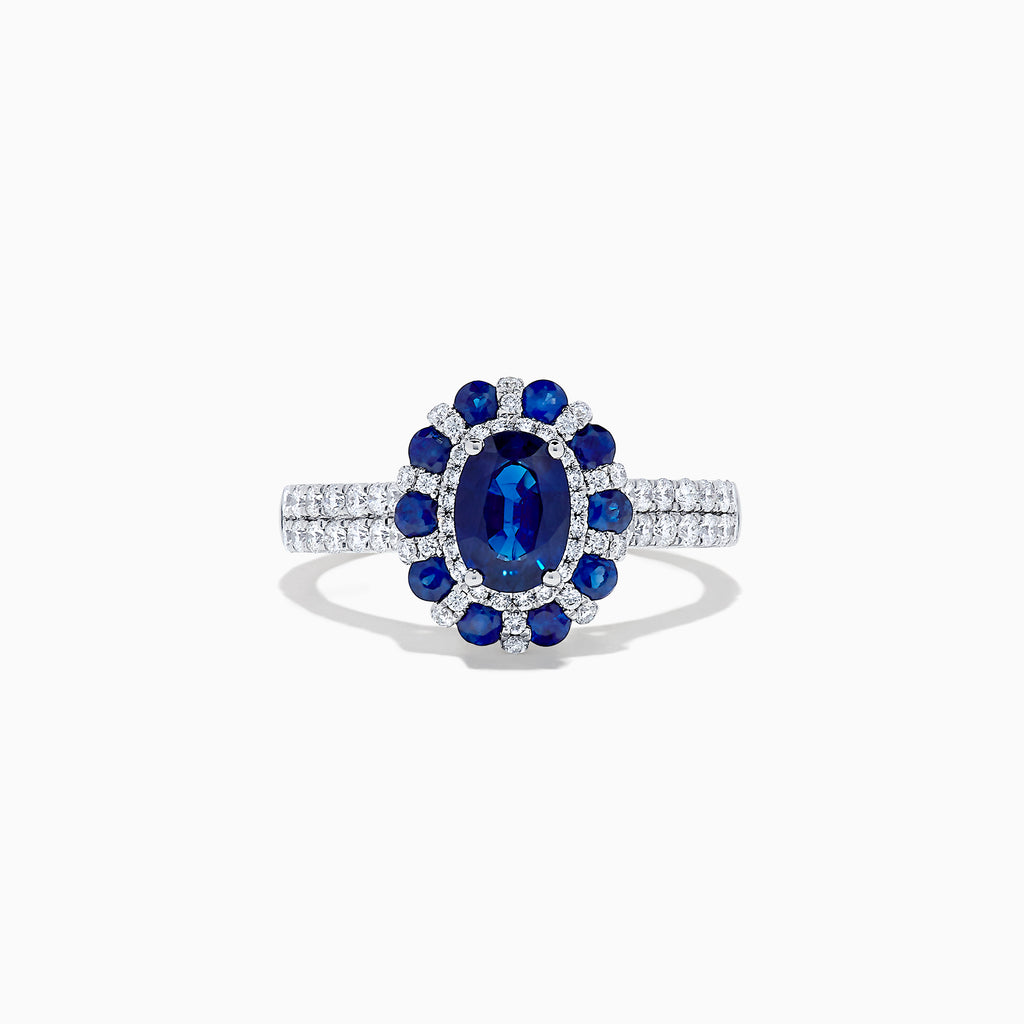 Effy Royale Bleu 14K White Gold Blue Sapphire and Diamond Ring, 1.84 TCW