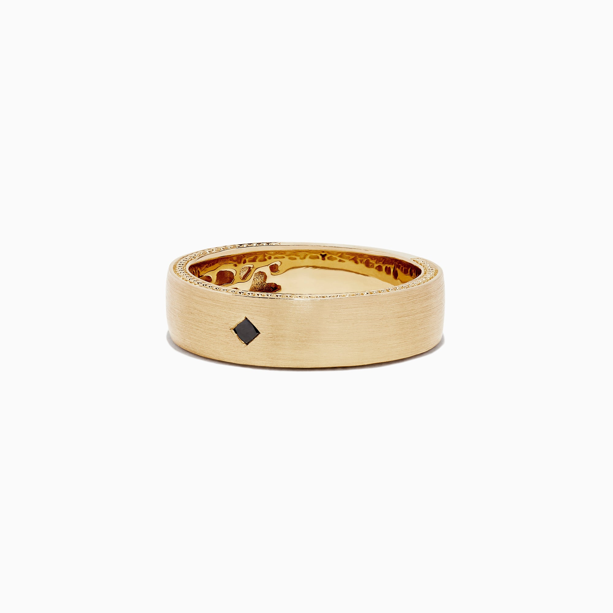 Effy Men's 14K Yellow Gold Black Diamond Ring, 0.07 TCW