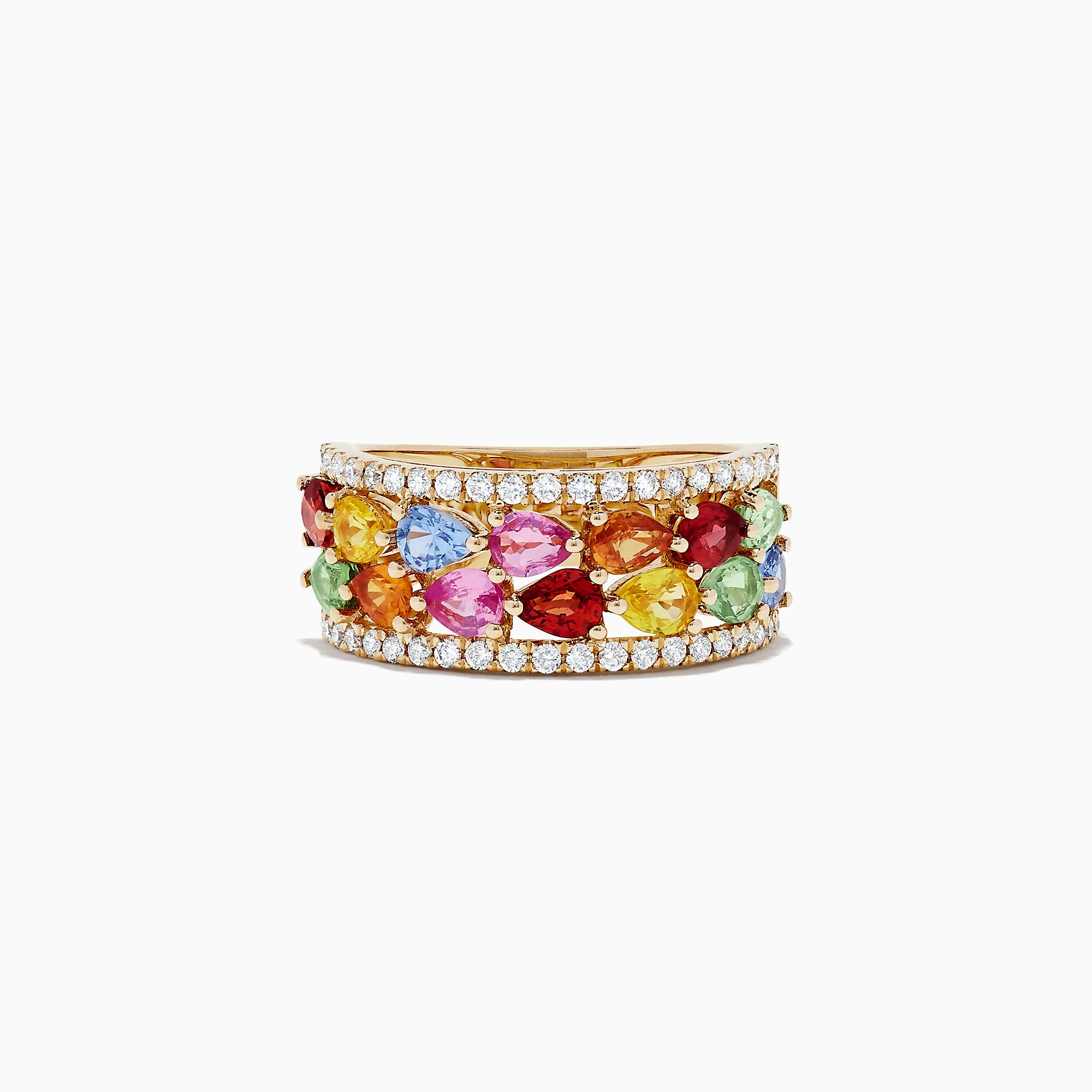 Effy Watercolors 14K Yellow Gold Multi Sapphire and Diamond Ring, 3.07 TCW