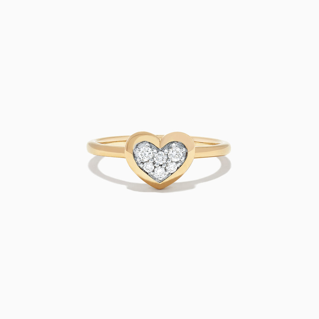 Effy Kidz 14K Yellow Gold Diamond Pave Heart Ring, 0.10 TCW