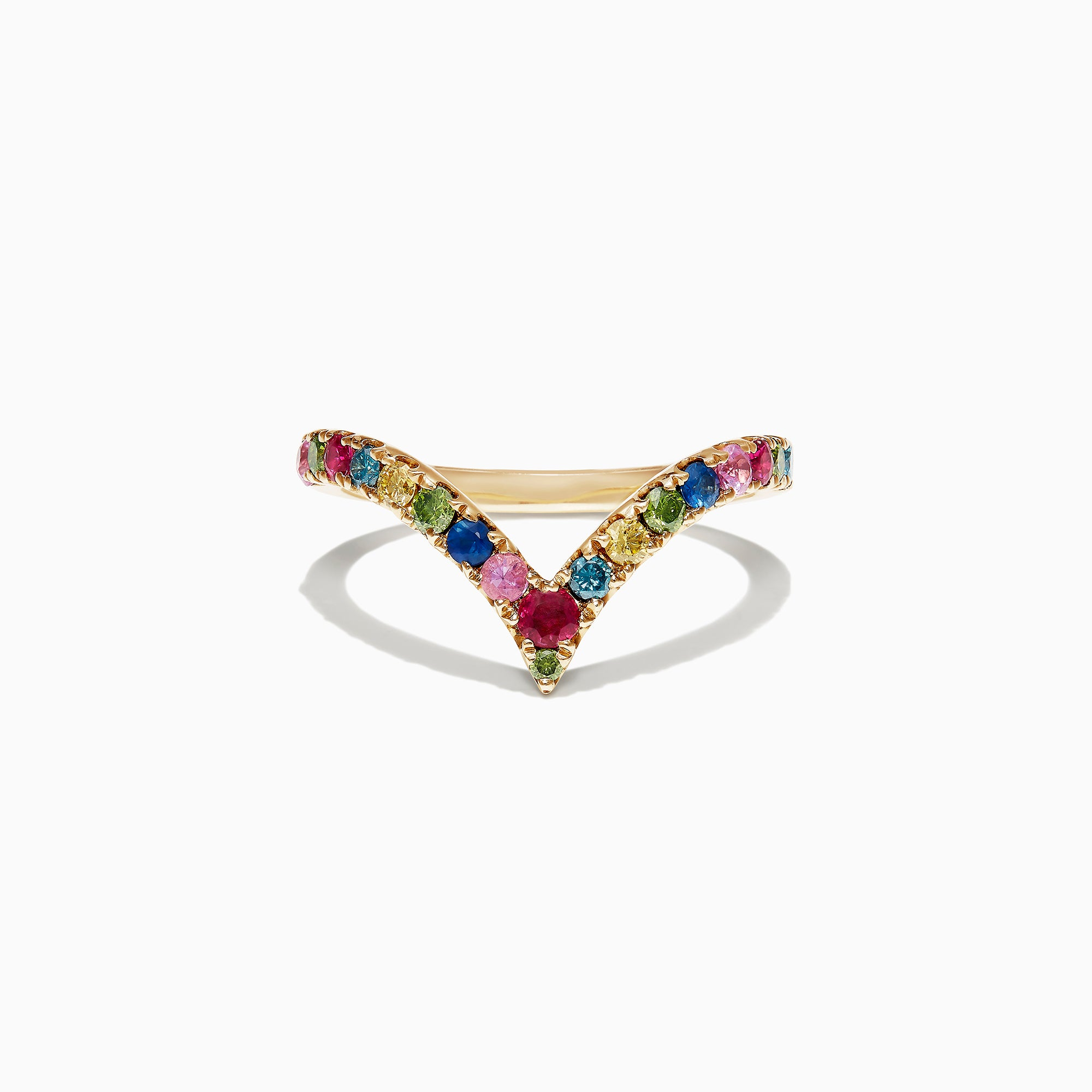 Effy Watercolors 14K Yellow Gold Multi Sapphire and Diamond Ring, 0.71 TCW