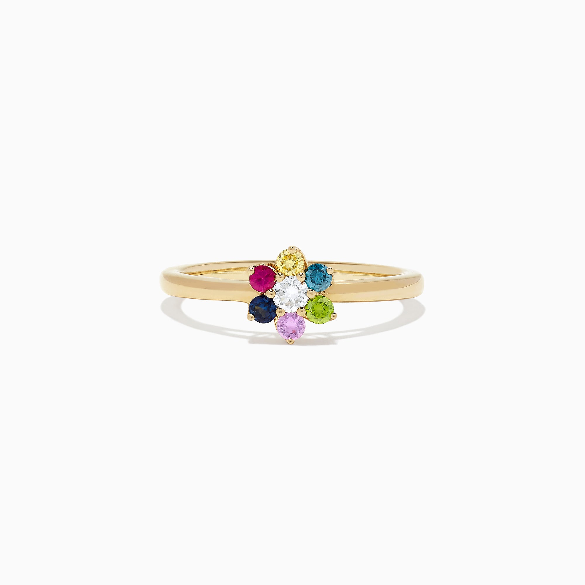 Effy Watercolors 14K Yellow Gold Multi Sapphire and Diamond Ring, 0.34 TCW