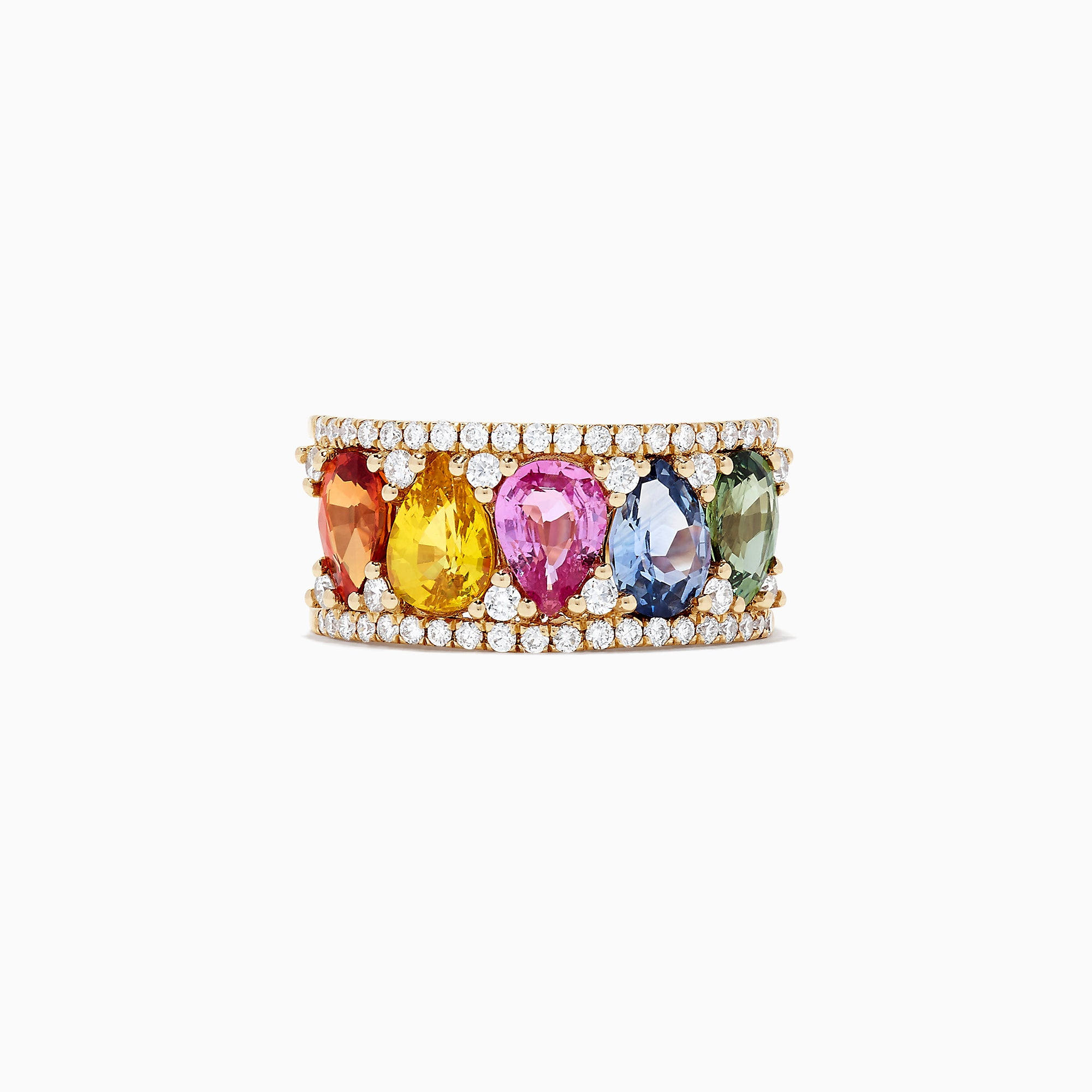 Effy Watercolors 14K Yellow Gold Multi Sapphire and Diamond Ring, 4.14 TCW