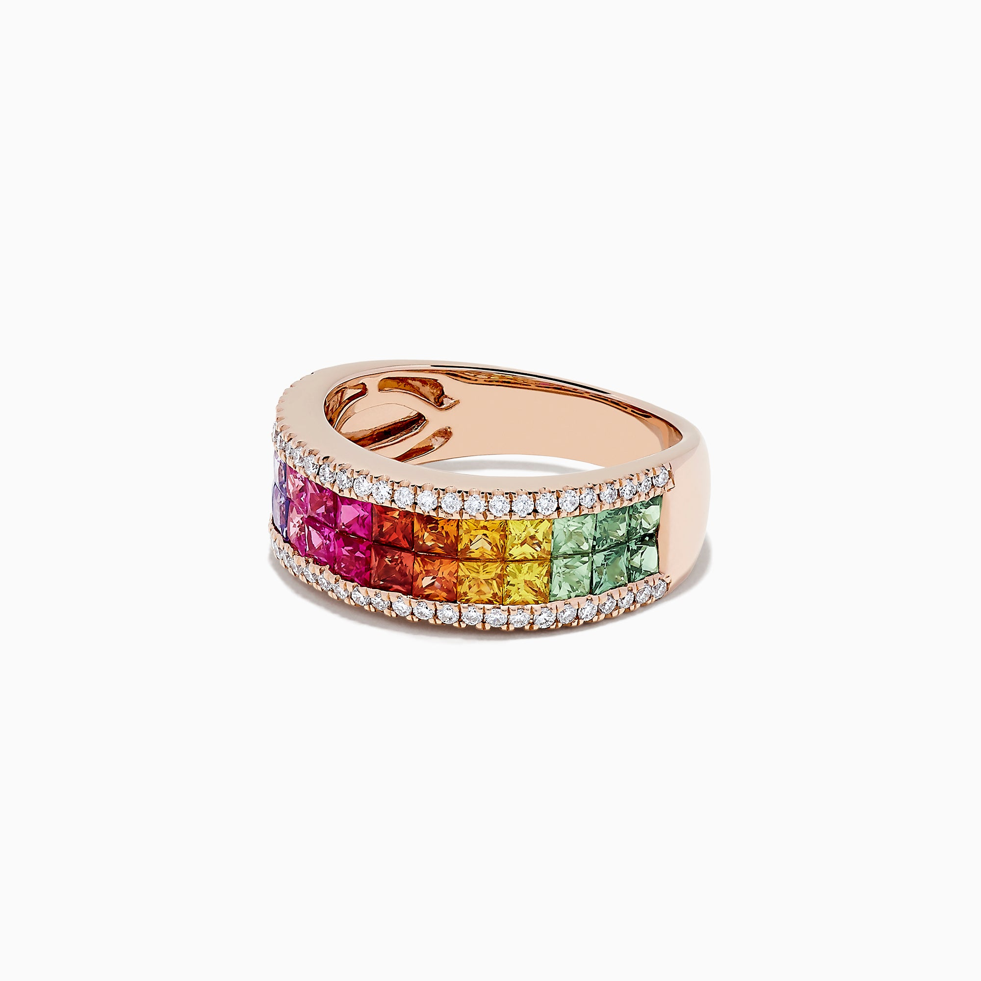 Effy Watercolors 14K Rose Gold Multi Sapphire and Diamond Ring, 2.40 TCW