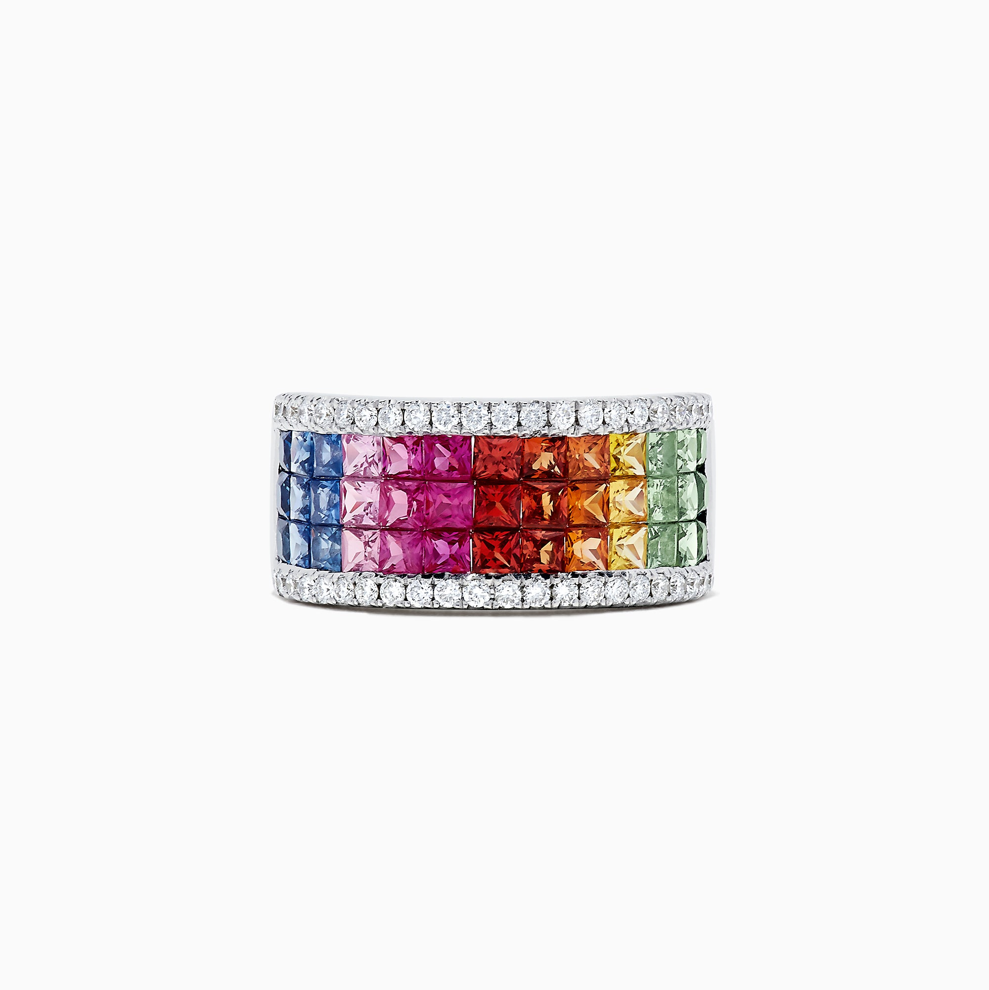 Effy Watercolors 14K White Gold Multi Sapphire and Diamond Ring, 3.33 TCW