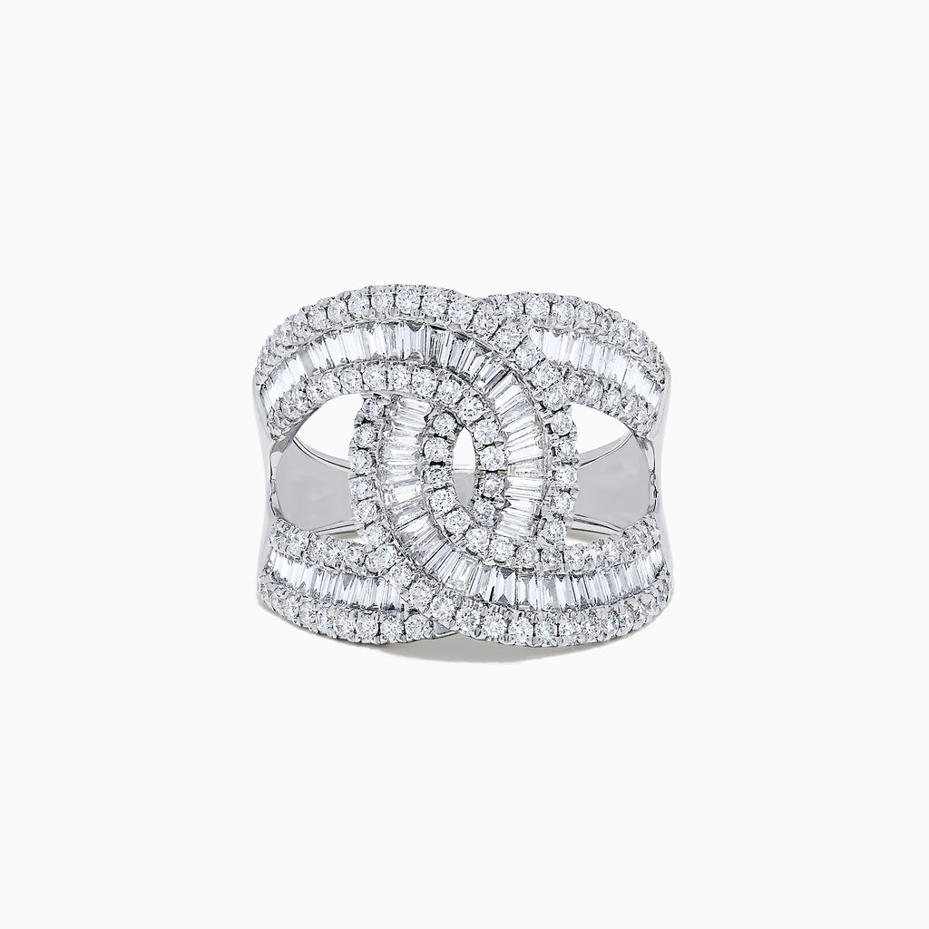 Effy Classique 14 Karat White Gold Diamond Ring, 1.42 TCW