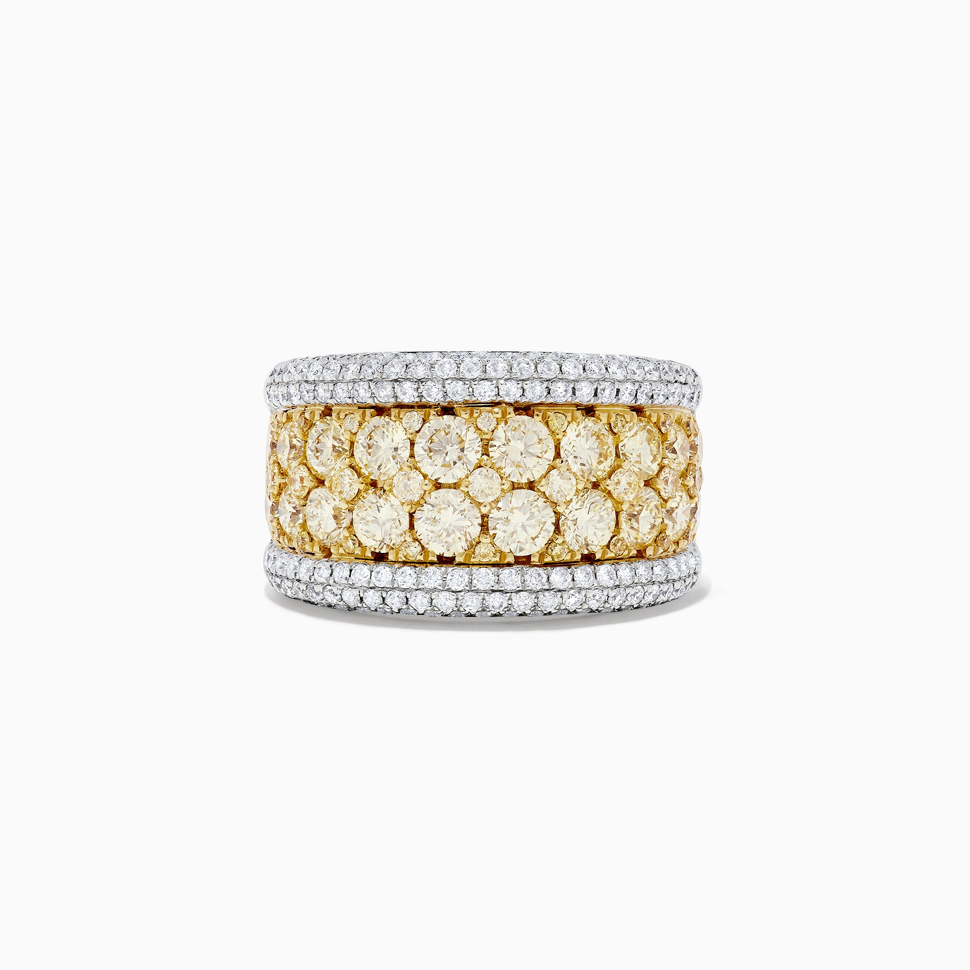 Effy Canare 14K Gold Yellow and White Diamond Cigar Band Ring, 3.82 TCW
