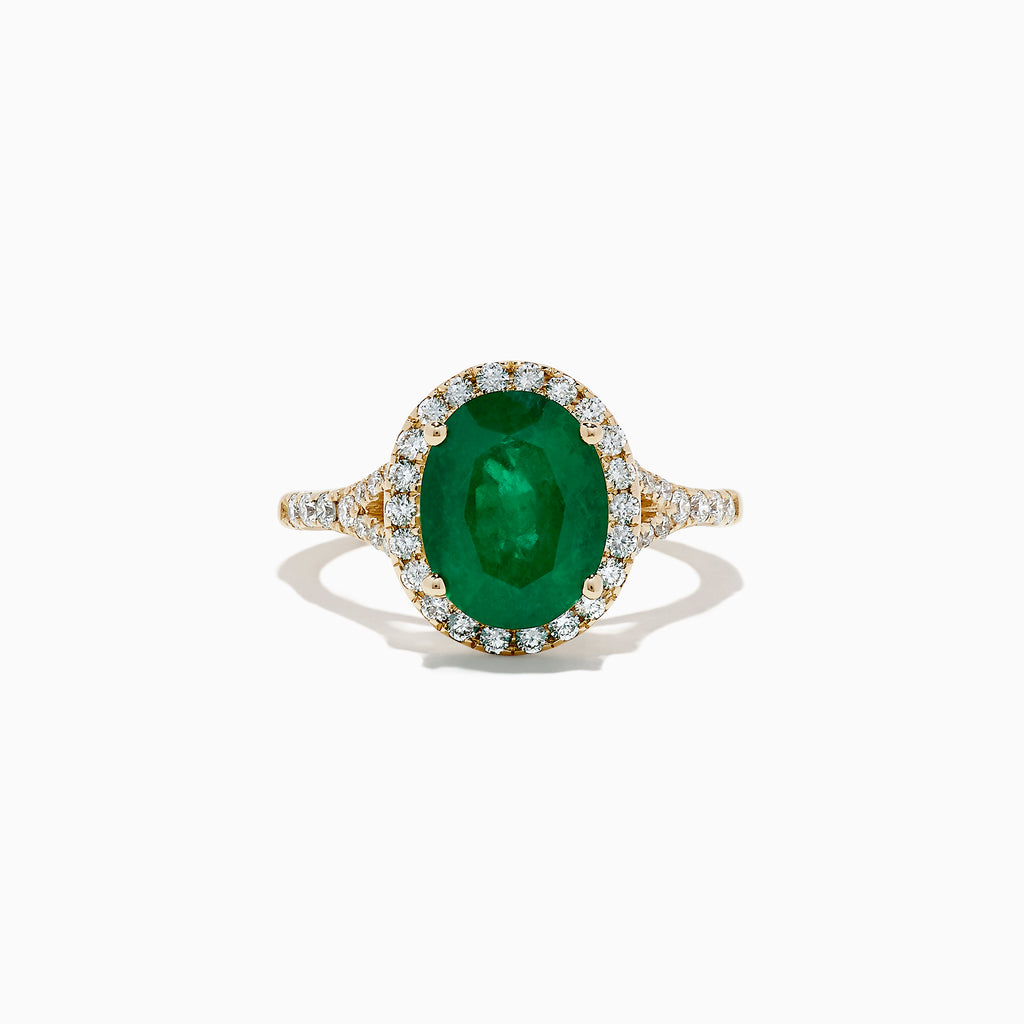 Effy Brasilica 14K Yellow Gold Emerald and Diamond Ring, 3.33 TCW
