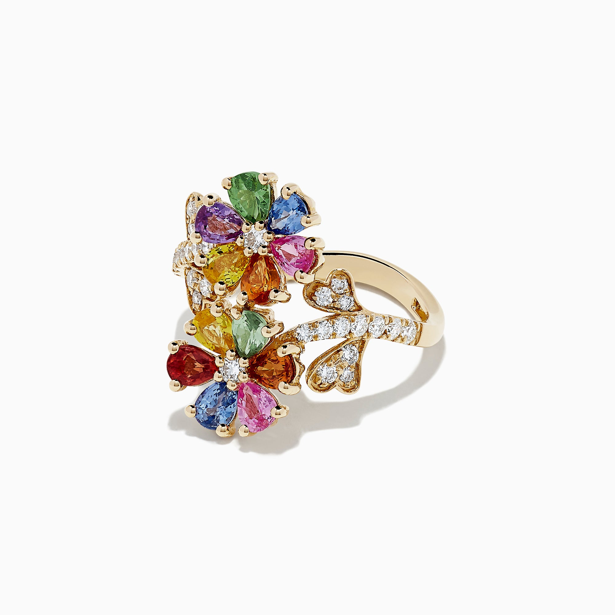 Effy Watercolors 14K Gold Multi Sapphire and Diamond Flower Ring, 3.27 TCW