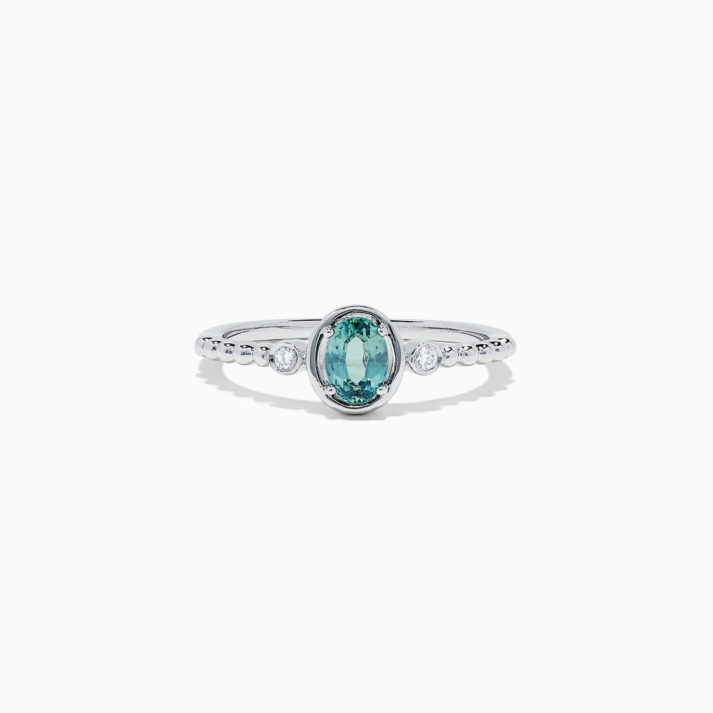 Effy 14K White Gold Alexandrite and Diamond Ring, 0.40 TCW