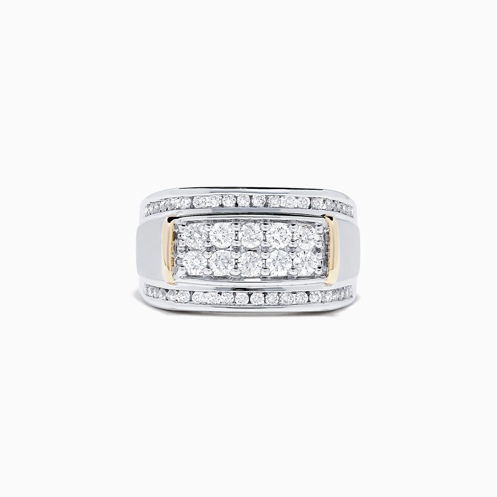 Effy Men's 14K White with Yellow Gold Accents Diamond Ring, 1.21 TCW