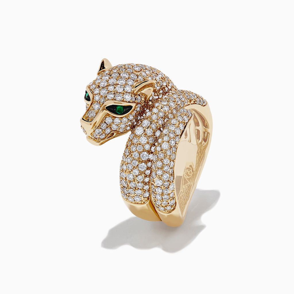 Effy Signature 14K Yellow Gold Diamond and Emerald Panther Ring, 2.13 TCW