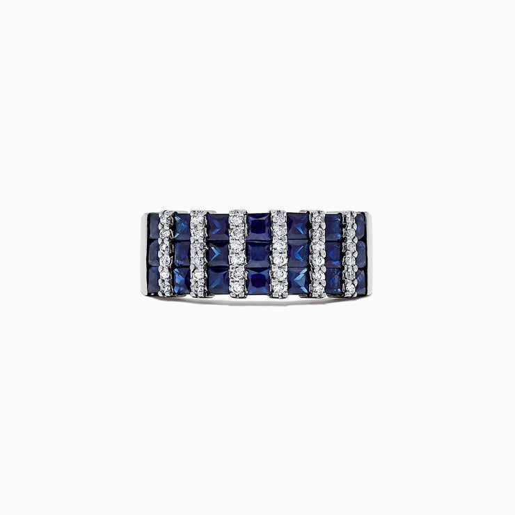 Effy 14K White Gold Sapphire and Diamond Band Ring, 2.26 TCW