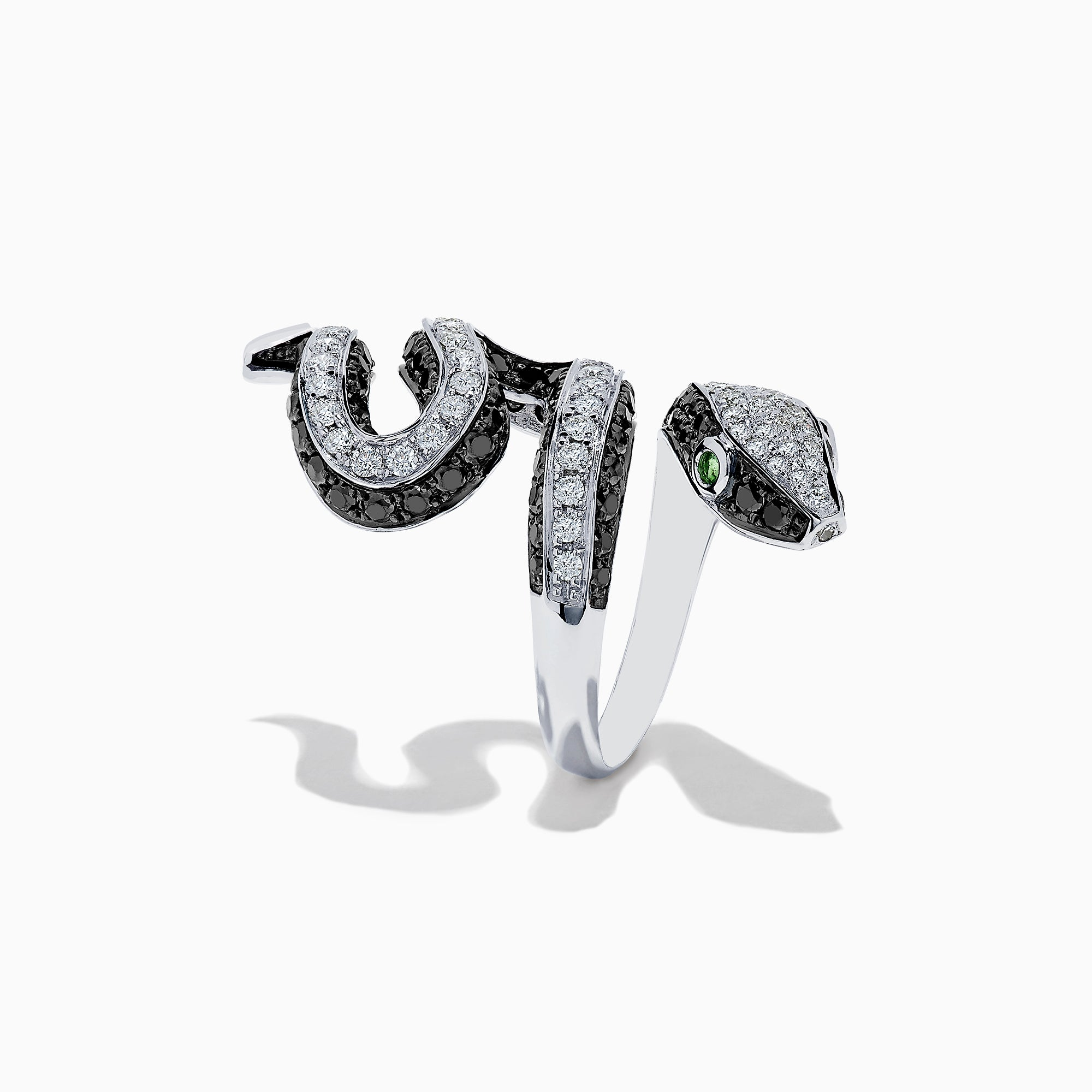 Effy Safari 14K White Gold Black and White Diamond Snake Ring, 3.25 TCW