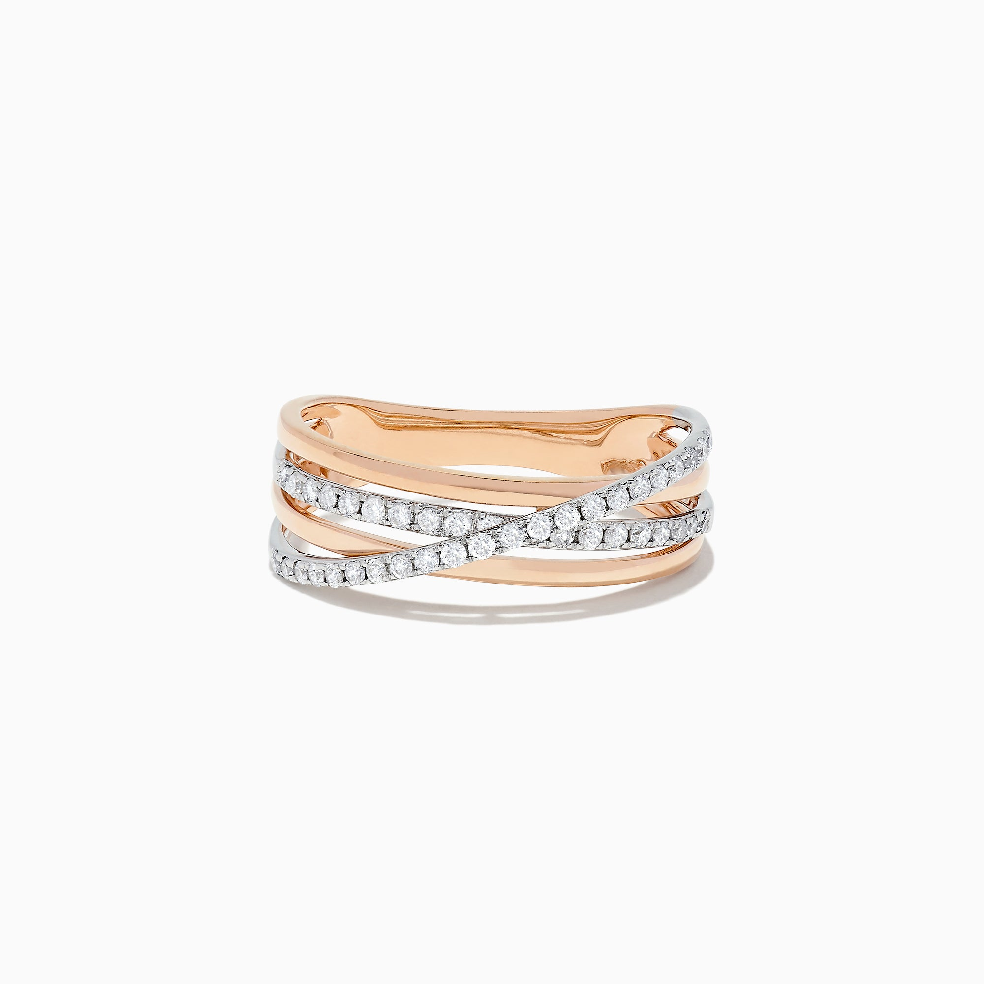 Effy Duo 14K Rose and White Gold Diamond Crossover Ring, 0.29 TCW