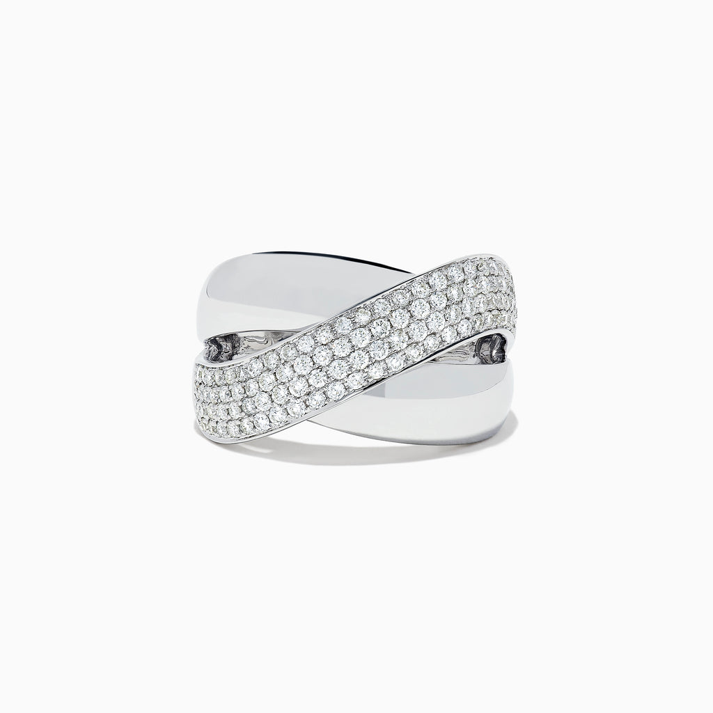 Effy 14K White Gold Diamond Cross Over Ring, 0.73 TCW