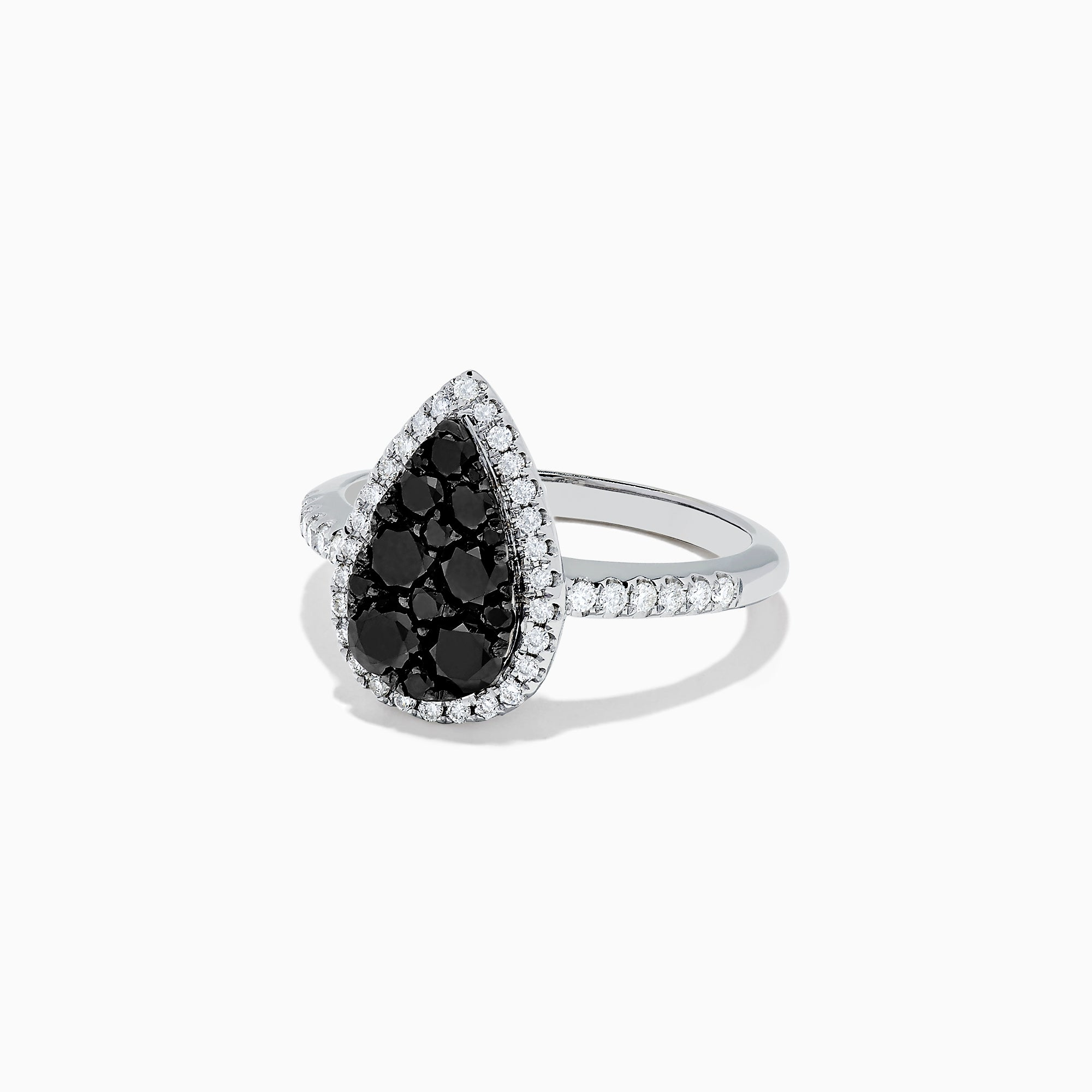 Effy 14K White Gold Black and White Diamond Pear Shaped Ring, 1.05 TCW