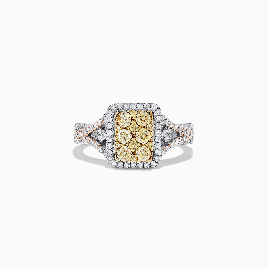 Effy Canare 14K Tri Tone Gold Yellow and White Diamond Ring, 1.03 TCW