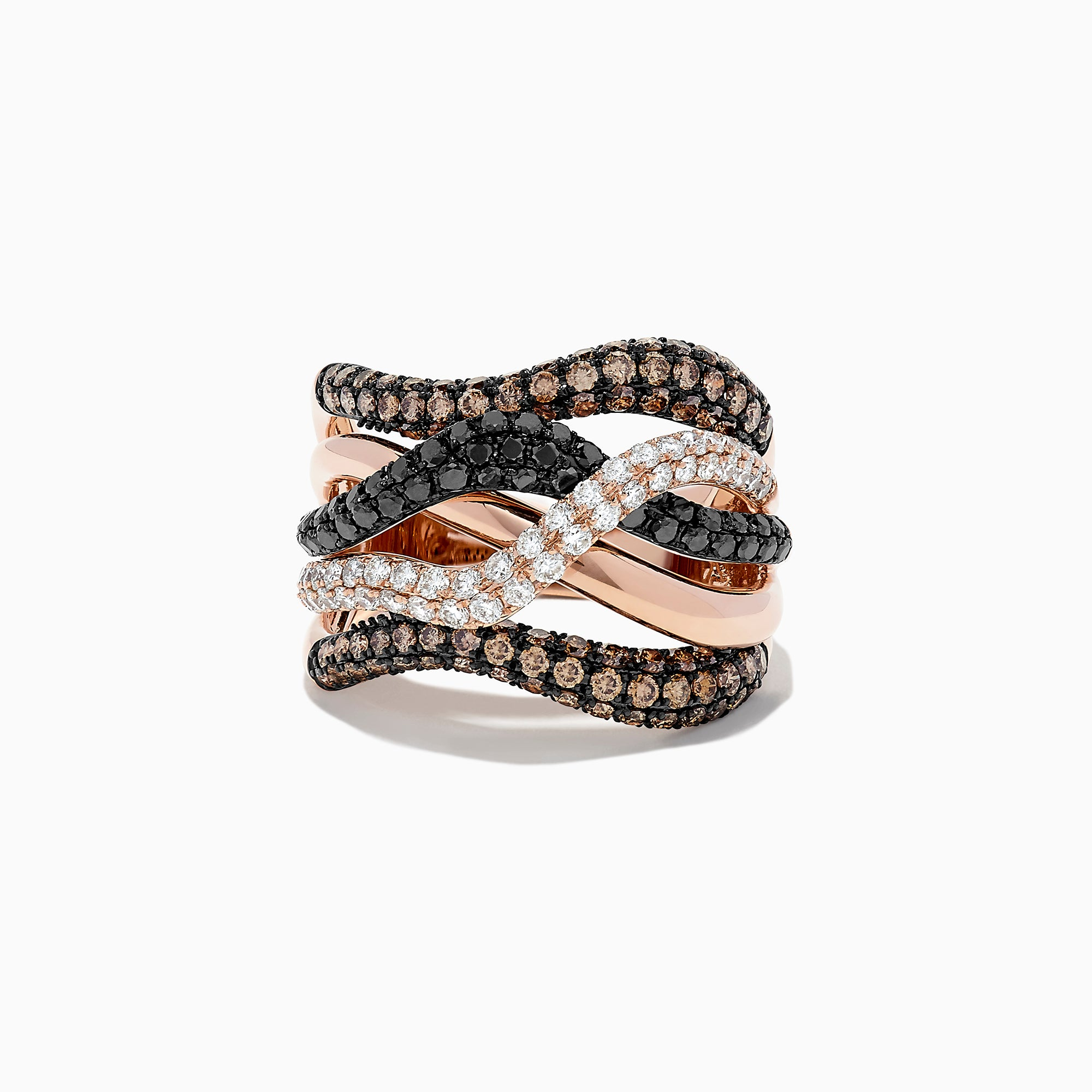 Effy 14K Rose Gold Black, Espresso and White Diamond Ring, 1.97 TCW