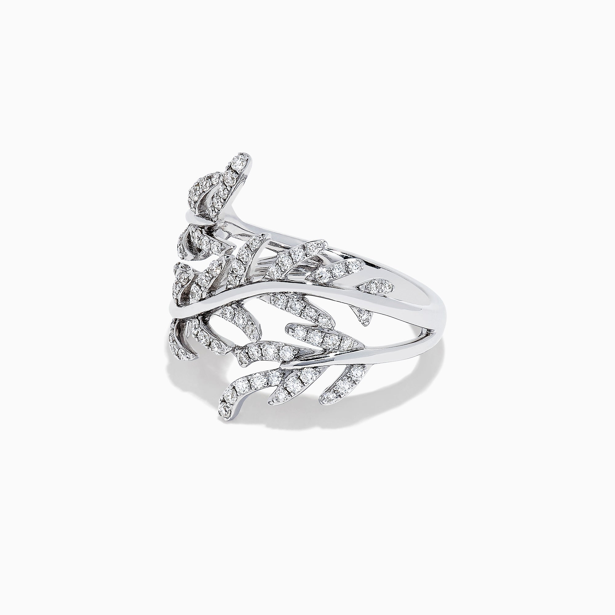 Effy Pave Classica 14K White Gold Diamond Wrapped Leaf Ring, 0.62 TCW