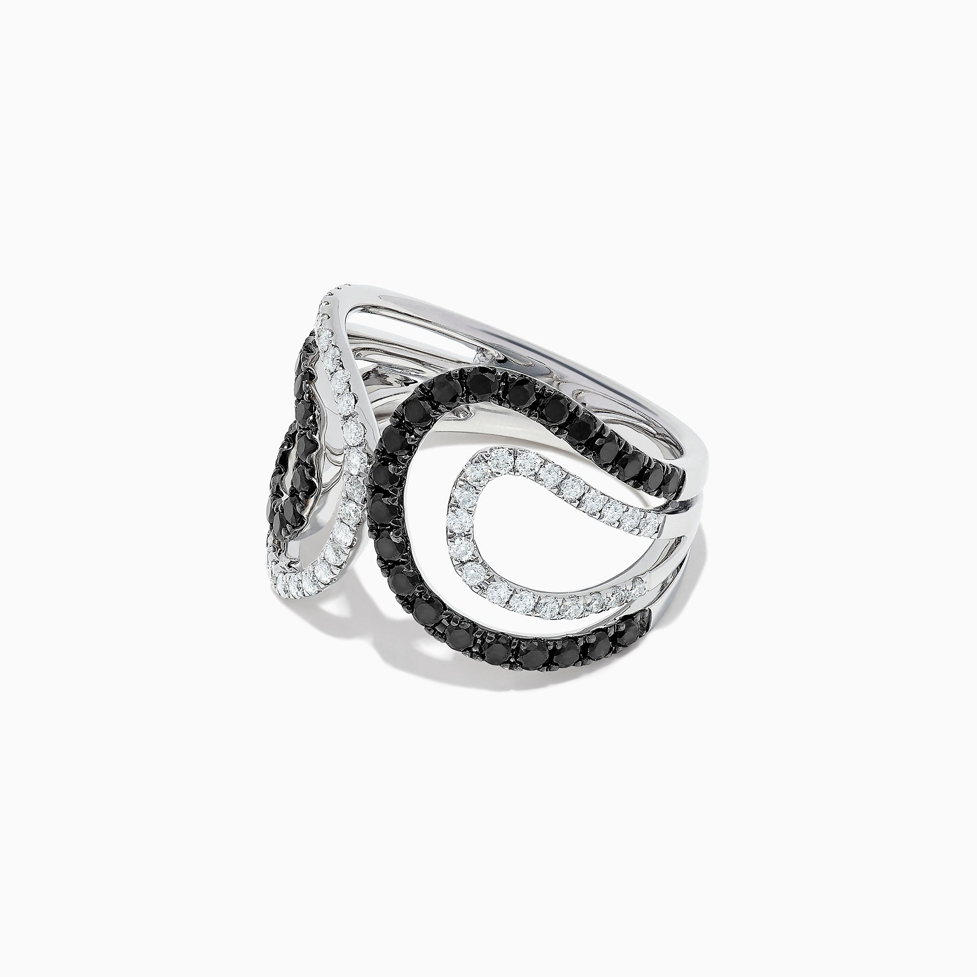 Effy 14K White Gold Black and White Diamond Ring, 1.08 TCW
