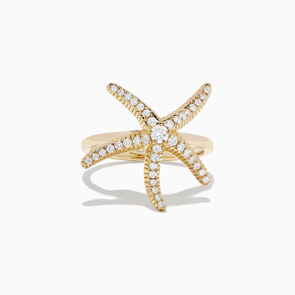 Effy Seaside 14K Yellow Gold Diamond Starfish Ring, 0.37 TCW