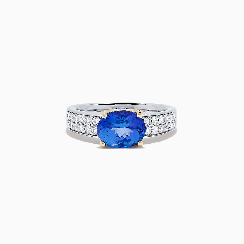 Effy Tanzanite Royale 14K Two Tone Gold Tanzanite & Diamond Ring, 2.16