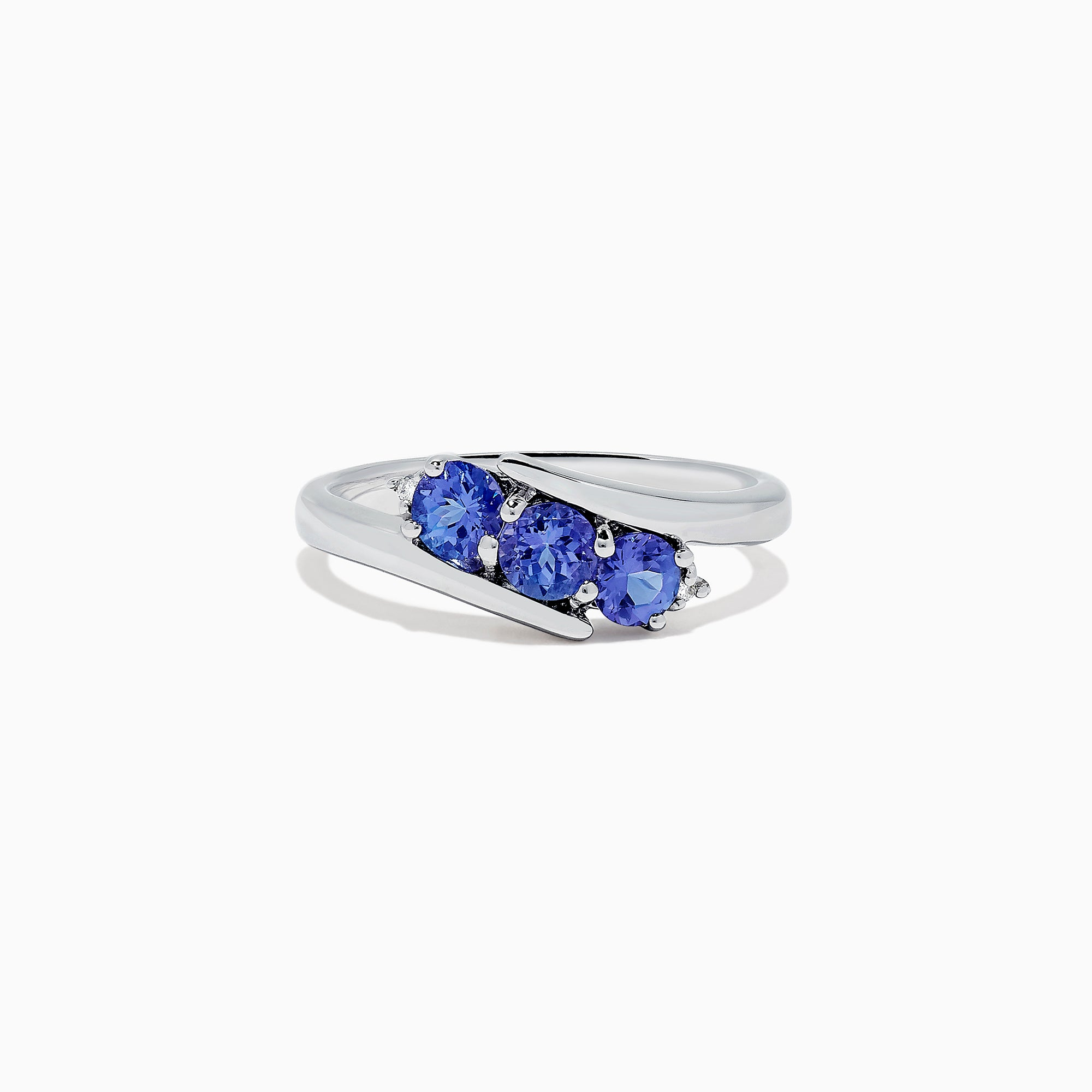 Effy Tanzanite Royale Sterling Silver Tanzanite and Diamond Ring, 0.86 TCW
