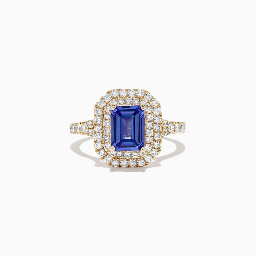 Effy Tanzanite Royale 14K Yellow Gold Tanzanite and Diamond Ring, 2.20 TCW