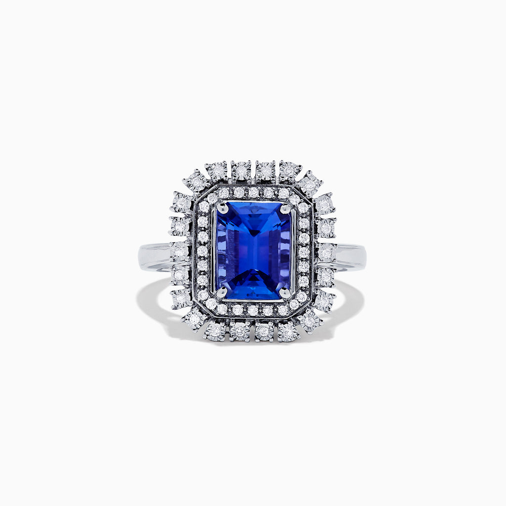 Effy Tanzanite Royale 14K White Gold Tanzanite & Diamond Ring, 2.29 TCW